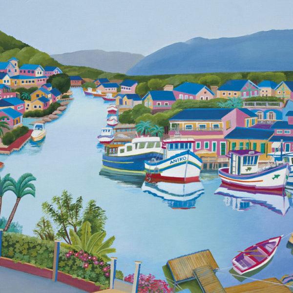 Barra de Lagoa, Florianópolis, Brasil - pintura acrílica de 35 x 45 cm